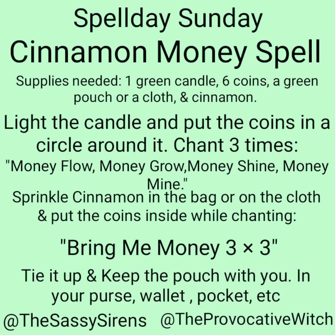 """Provocative Witch on Instagram: """"Welcome to Spellday Sunday. Today's spell is a simple money spell that you can cast to help improve your finances.  The Cinnamon Money…"""" #moneyspell Provocative Witch on Instagram: """"Welcome to Spellday Sunday. Today's spell is a simple money spell that you can cast to help improve your finances.  The Cinnamon Money…"""" #moneyspells Provocative Witch on Instagram: """"Welcome to Spellday Sunday. Today's spell is a simple money spell that you can cast to h #moneyspells"""