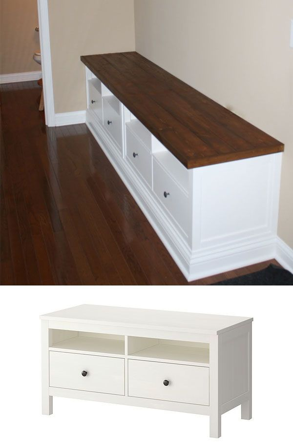 diy - bench build out using two ikea hemnes tv consoles. full step