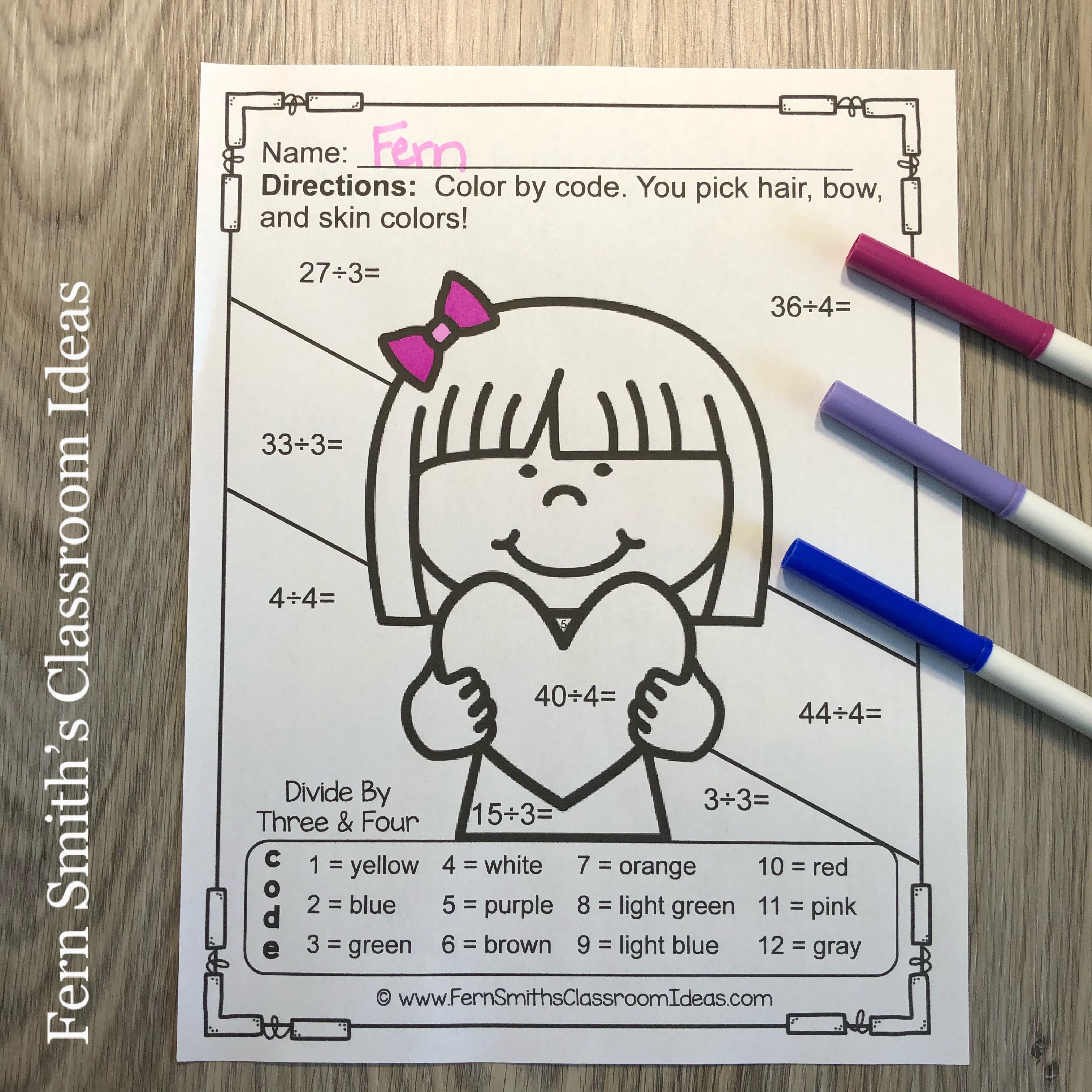 Valentine S Day Color By Number Multiplication And
