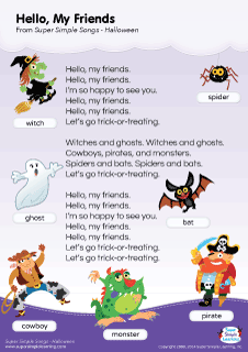 Super Simple Songs Halloween.Lyrics Poster For Hello My Friends Halloween Song From Super