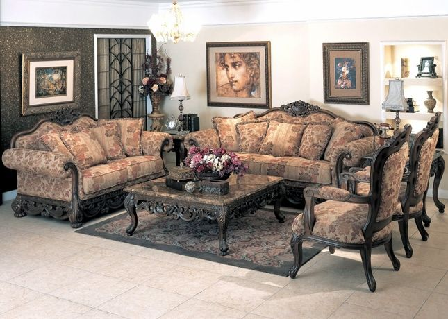 appealing traditional fabric sofas living room furniture | Newport Baroque Style Fabric Formal Living Room Furniture ...