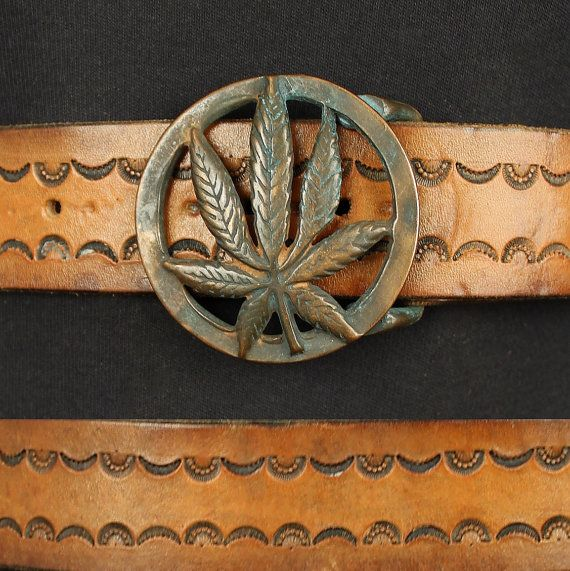 Vintage 70s Hand Tooled Leather Rocker Belt And Brass Marijuana