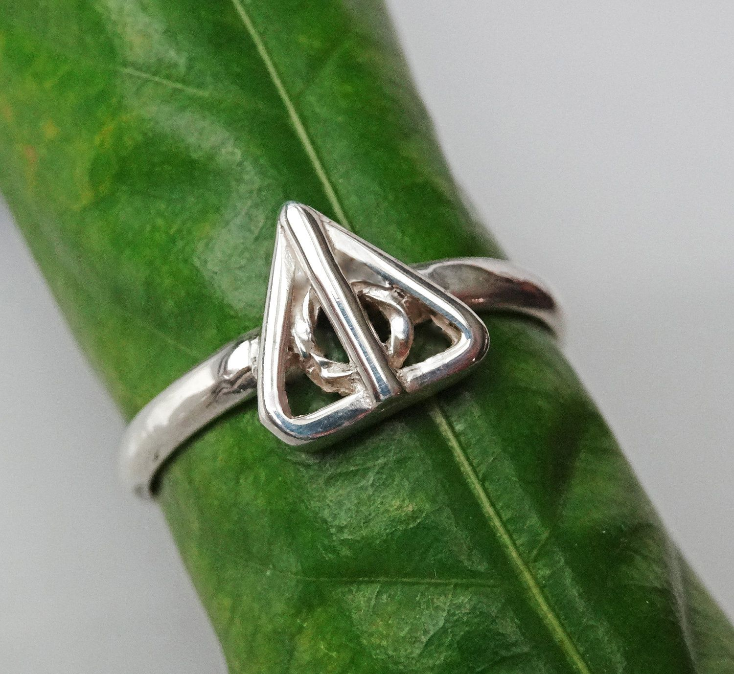 Deathly hallows ring solid sterling silver size 7 only