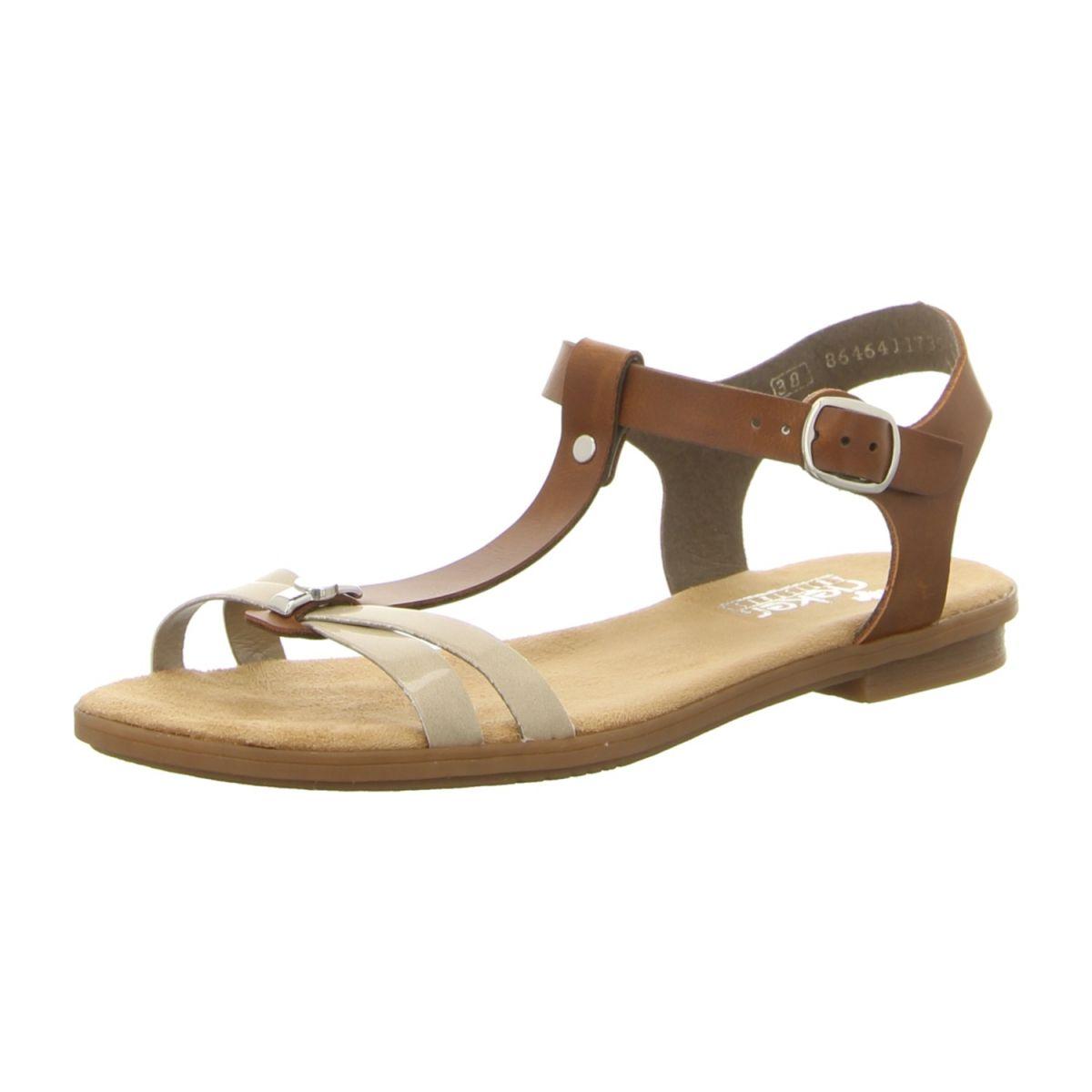 NEU: Rieker Sandalen 64268 62 beige kombi   Schuhe damen