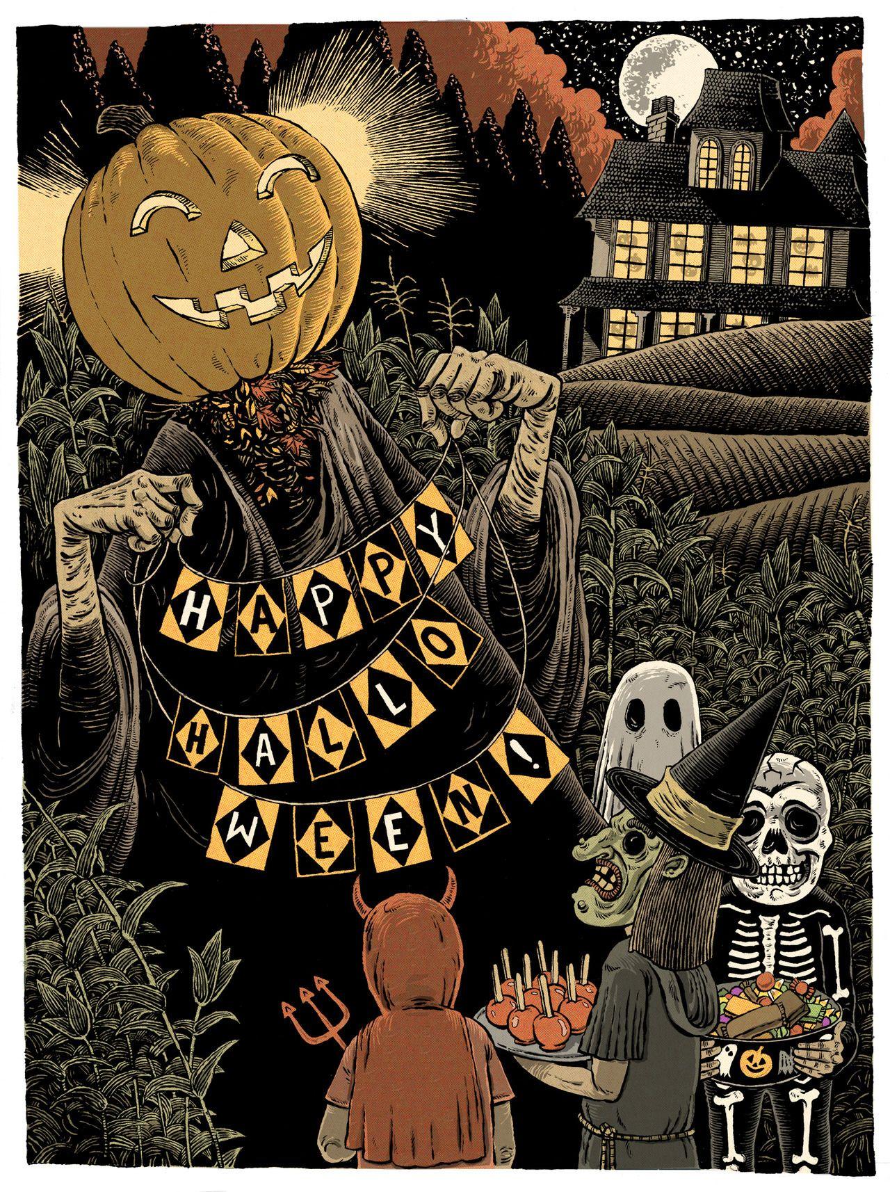 sam heimer Vintage halloween art, Halloween artwork
