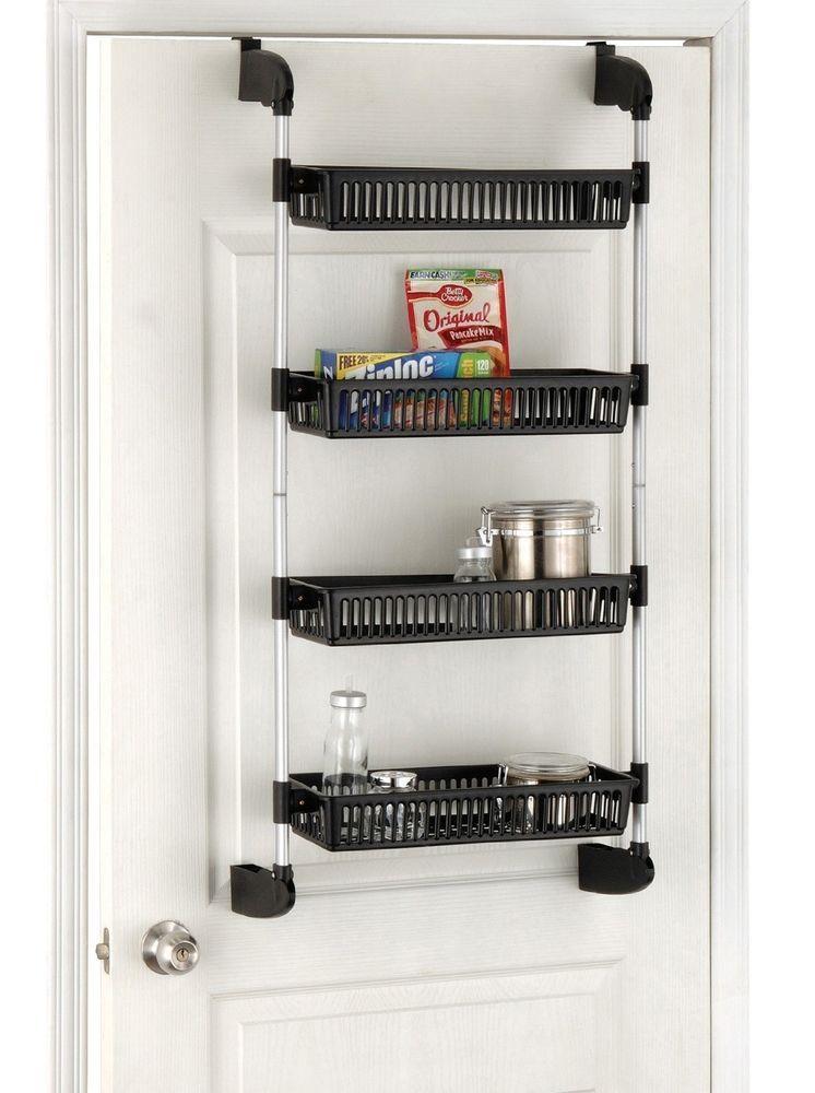 Pantry Kitchen Organizer Storage Rack Over Door Shelf Cabinet 4 Tier Basket  New
