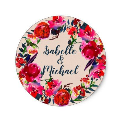 red boho chic floral wreath stickers anniversary gifts ideas diy celebration cyo unique