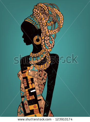 Hand drawn illustration  Beautiful black woman.African woman - stock vector #africanfashion