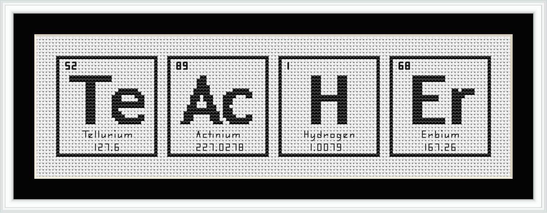 Teacher Periodic Table Chemical Element Cross Stitch Chart Cross