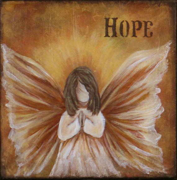 Religious Flat Acrylic: Butterfly Hope Angel- An Original 6 X 6 Inch Acrylic