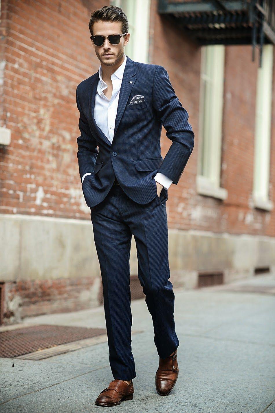 c6320d59 Navy suit, white dress shirt, brown monk strap shoes | Men's outfit ...
