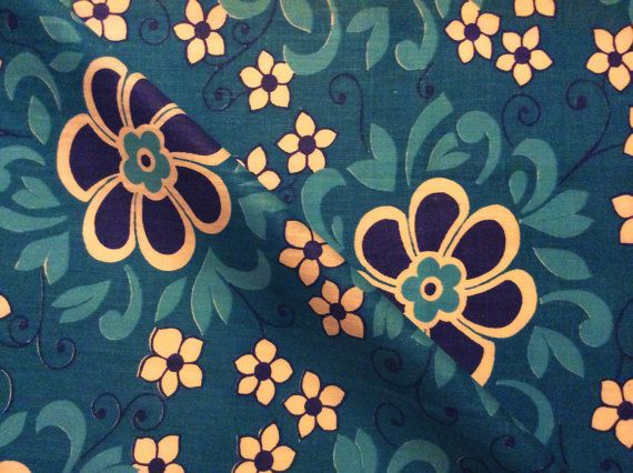 60s fabric with bright colours. Turquoise with white by Inspiria, $14.00