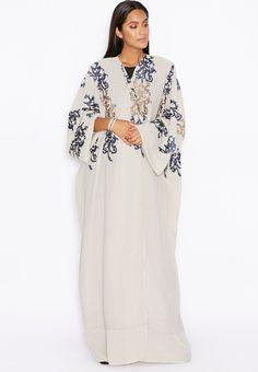 تسوق عباية مطرزة ماركة هيا كلوزيت لون رمادي في مسقط ومسندم Abaya Designs Abaya Fashion Kimono Fashion