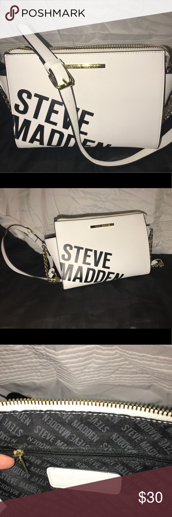 Steve Madden Logo Crossbody All White Crossbody With Adjustable Strap Perfect For Small Items Especially For Going Ou Steve Madden Bags Steve Madden Crossbody