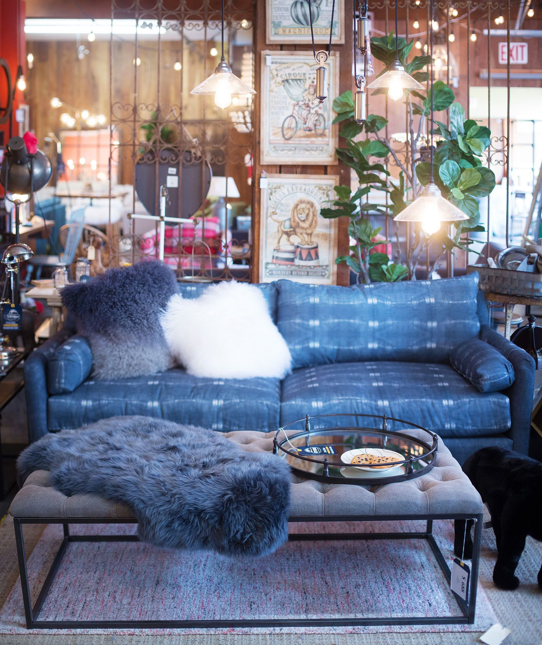 Sheepskin Accessories Blue Indigo Dye Sofa Home Decor Heaven At City Home In Portland Oregon Living Room Style Bright Pillows Home