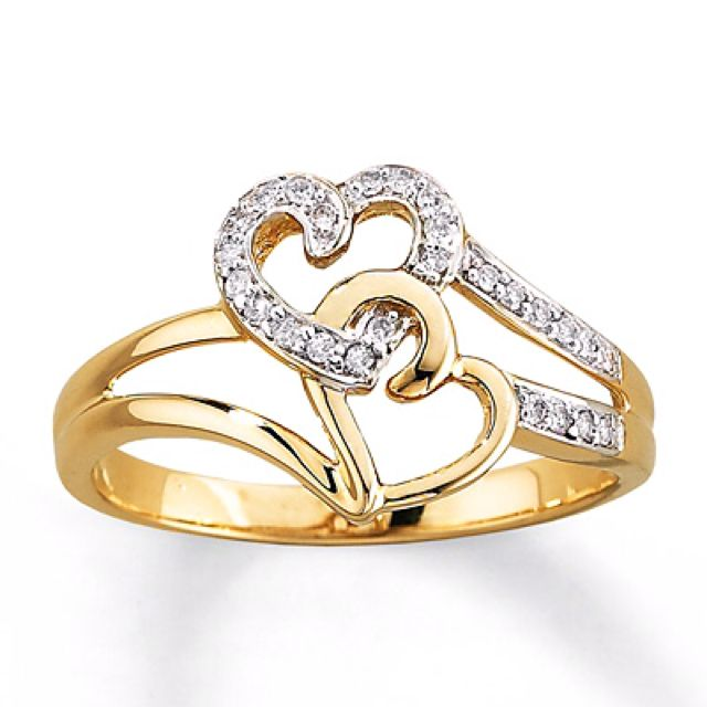 10 K Yellow Gold 1 10 Carat T W Double Heart Ring Diamond Heart Ring Wedding Ring Designs Diamond Rings Design