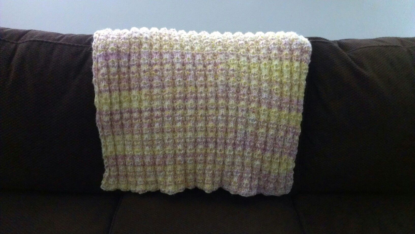"""Ribbed baby blanket. Check out """"ribbed for your pleasure.WordPress.com"""" for pattern."""