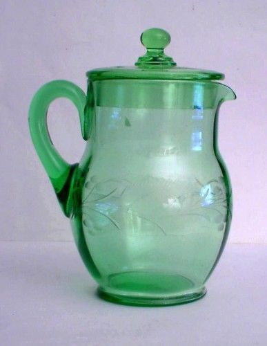 Ice Tea Pitcher with Lid Depression Vaseline Green Glass Floral Cuttings