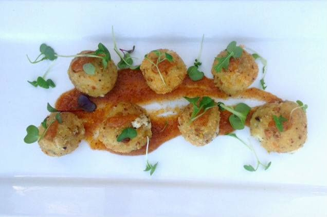 Goat Cheese Fritters Encrusted with Toasted Pistachios- Served with a Honey Peach Jam  www.cafecateringandevents.com