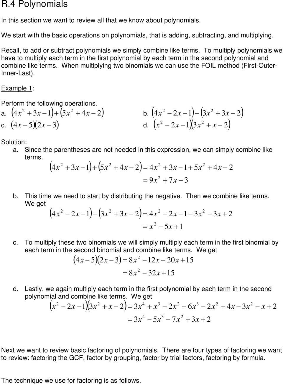 Operations With Polynomials Worksheet