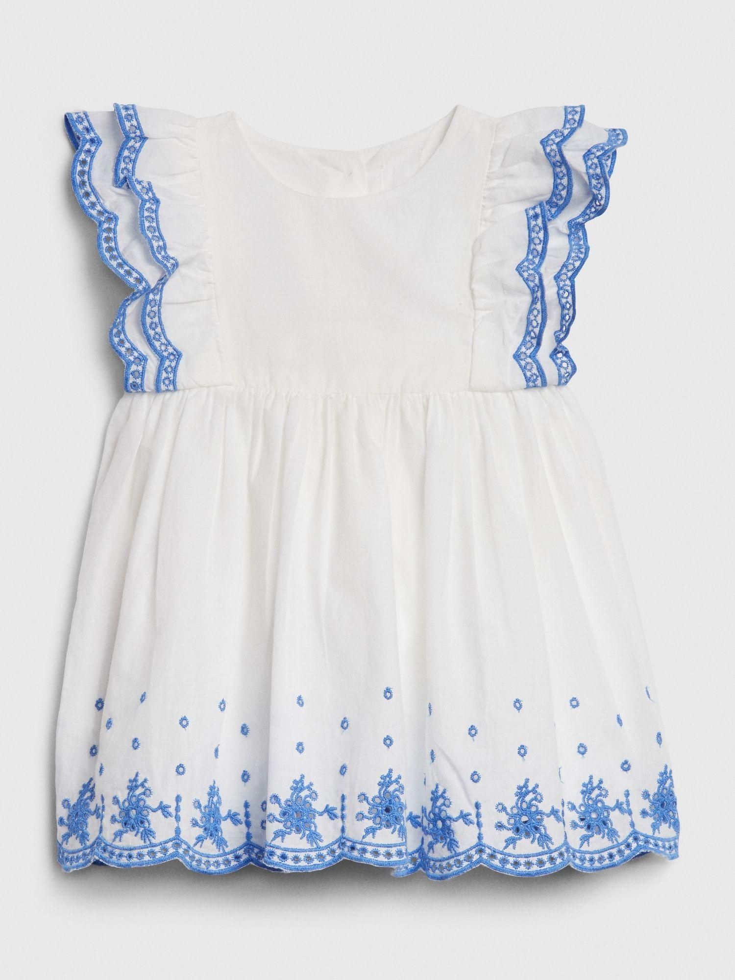 Baby Eyelet Flutter Dress Gap Flutter Dress Baby Eyelet White Dress Summer [ 2000 x 1500 Pixel ]