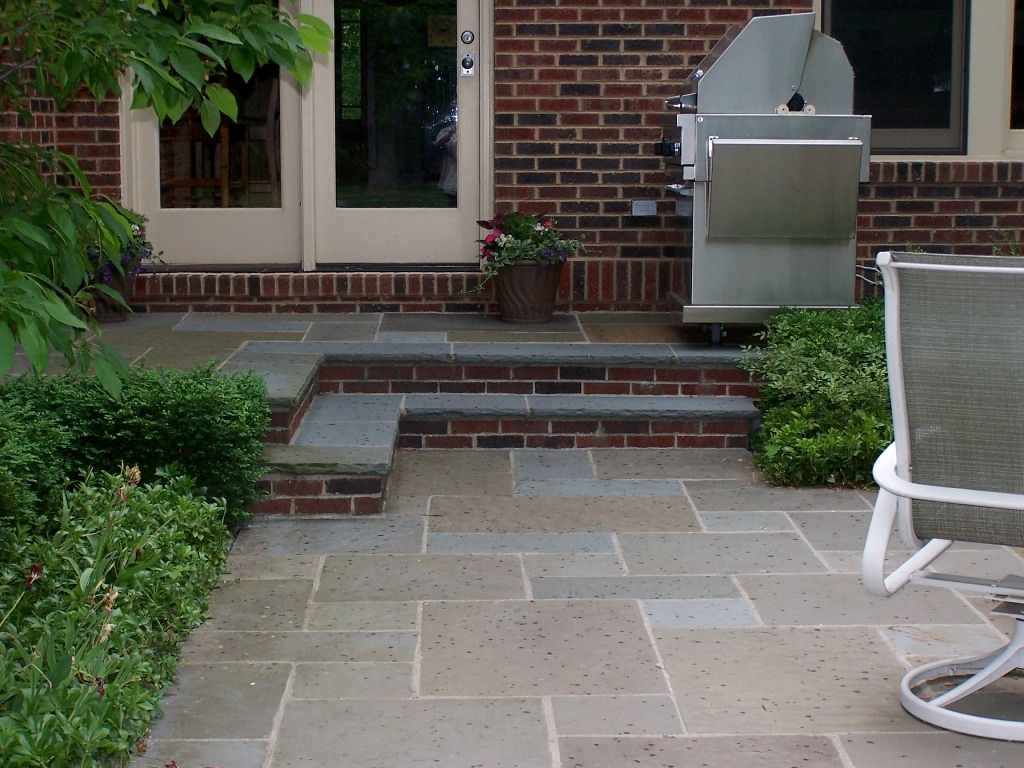 Bluestone patio and steps with brick risers deck ideas for Bluestone porch