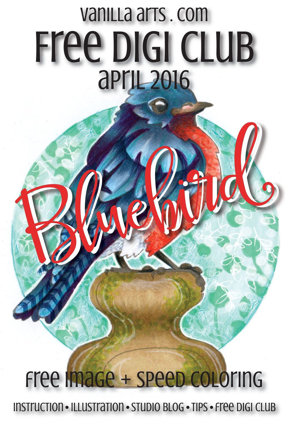 "April's Free Digi Club image ""Bluebird"". Get your copy and color with me! 