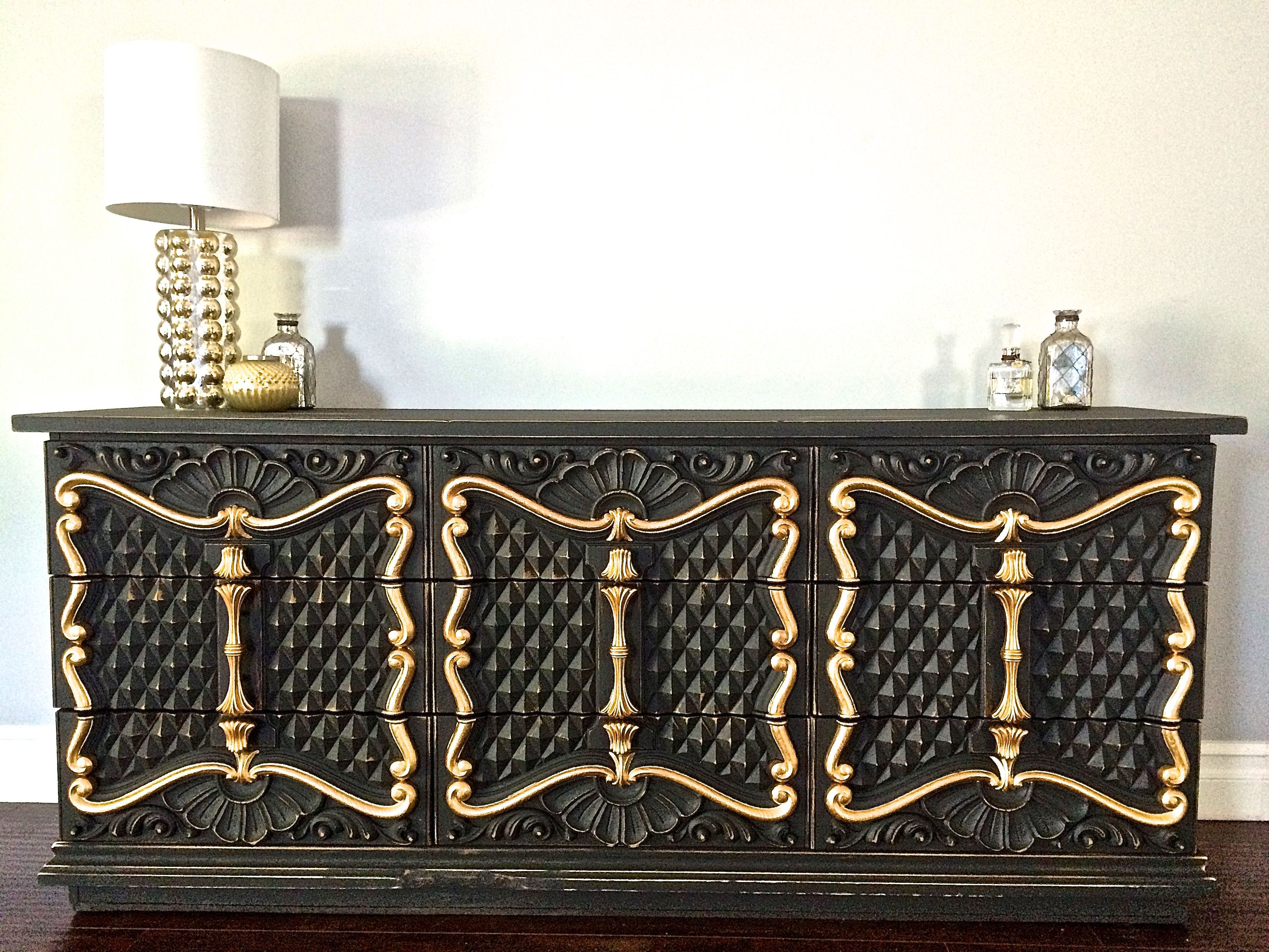 Black shabby chic furniture - Shabby Chic Black Gold Leaf 9 Drawer Dresser 350 Sold
