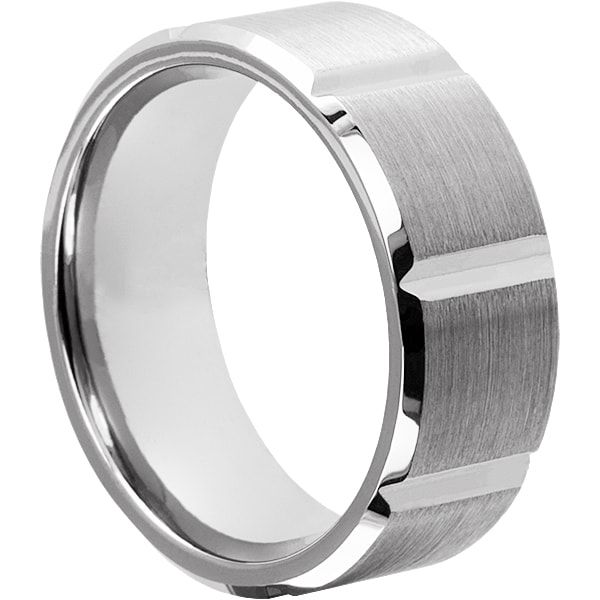 Tungsten Wedding Bands Bryson Beveled Brushed Rings For Men 9mm Horizontal Grooves