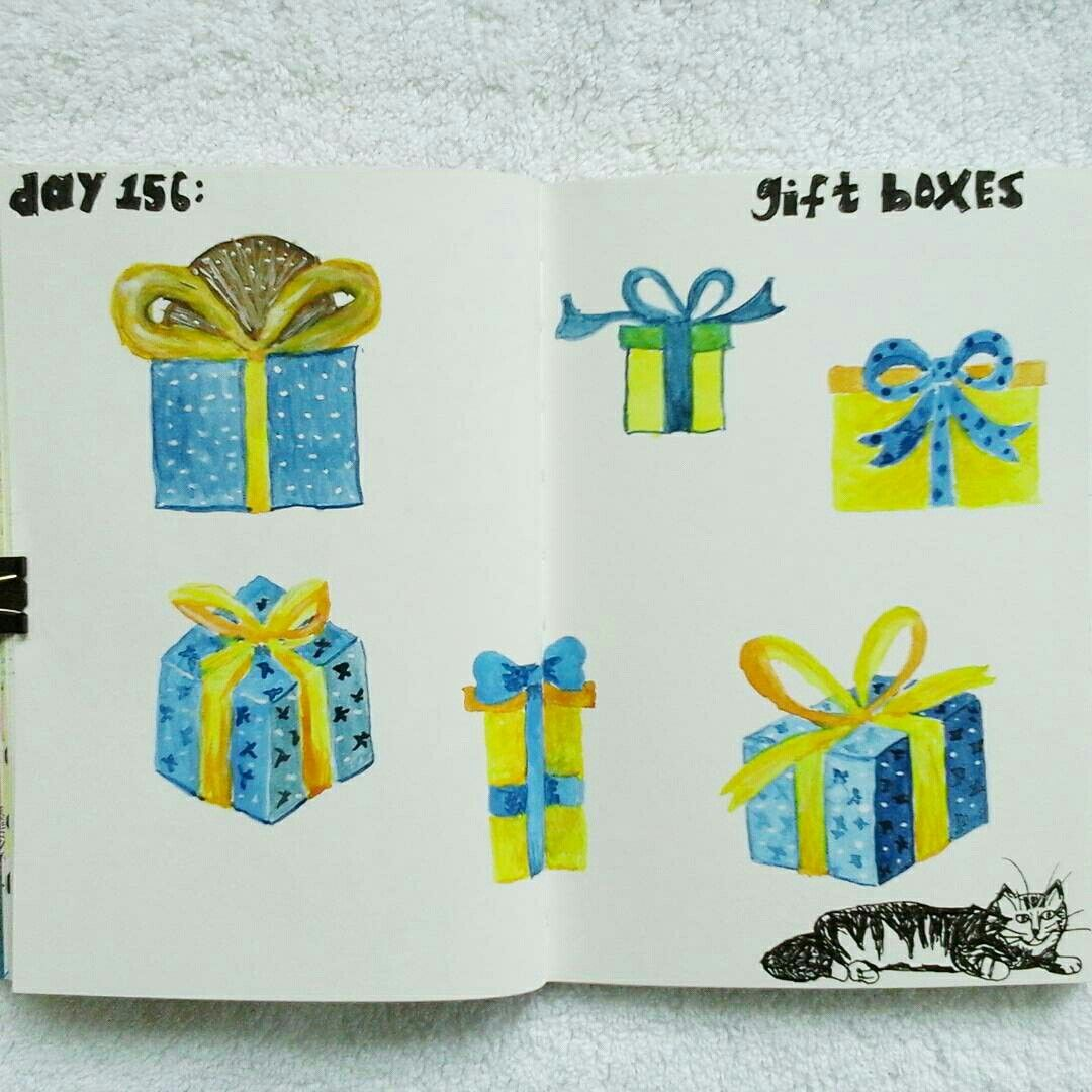 Day 156: gift boxes #sketchbook #100dayproject #augustwren