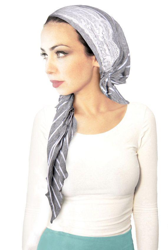 Gray Head Scarf White Stripes Pre tied Bandana Hair Snoods  a42fb5d1273