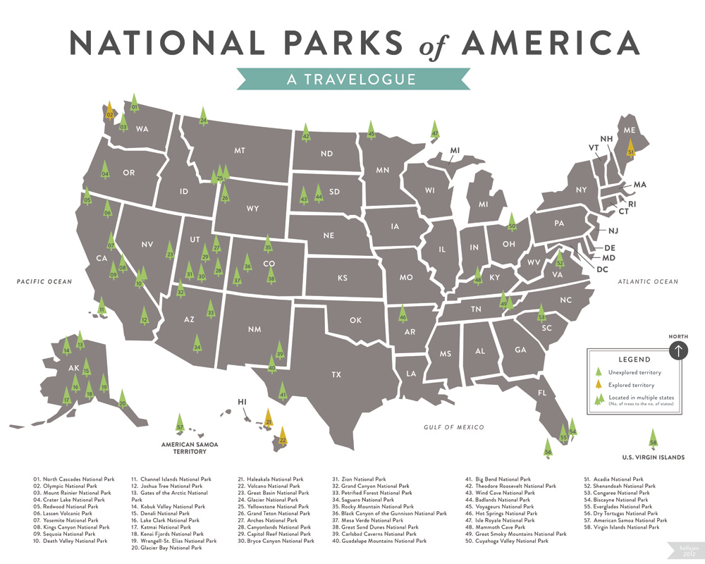 Map of All 58 American National Parks | South-Pointing Fish ...  National Parks Map on