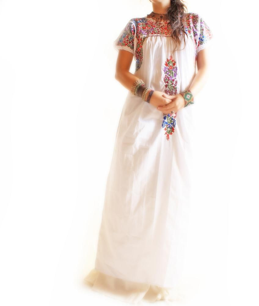 Xochimilco San Antonino fine Mexican embroidered maxi dress ...