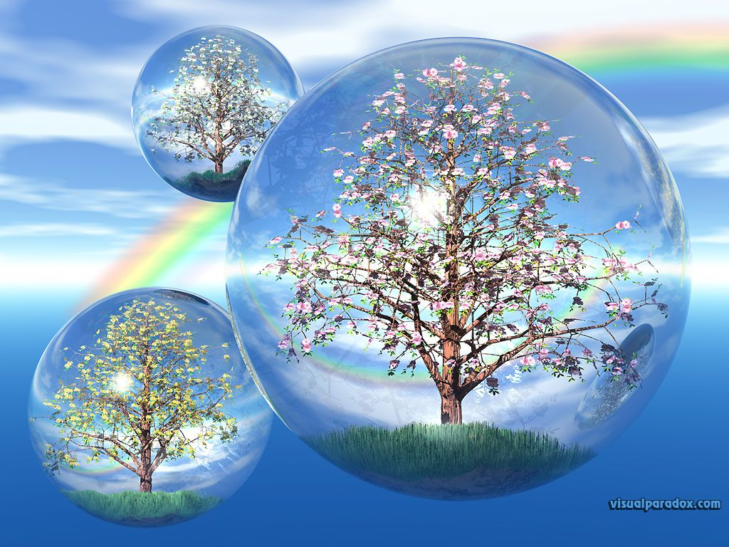 Free 3d Spring Screensavers Flowers Blossoms Crystal Globe Blossom Flower Bud 3d Wallpaper Abstract Wallpaper Bubble Pictures Tree Wallpaper