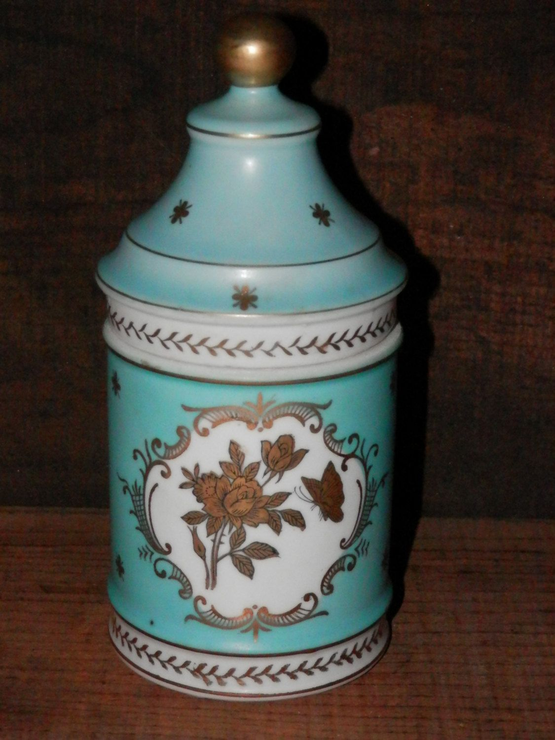 Vintage Glass Apothecary Jar Turquoise Flowers With Gold Design