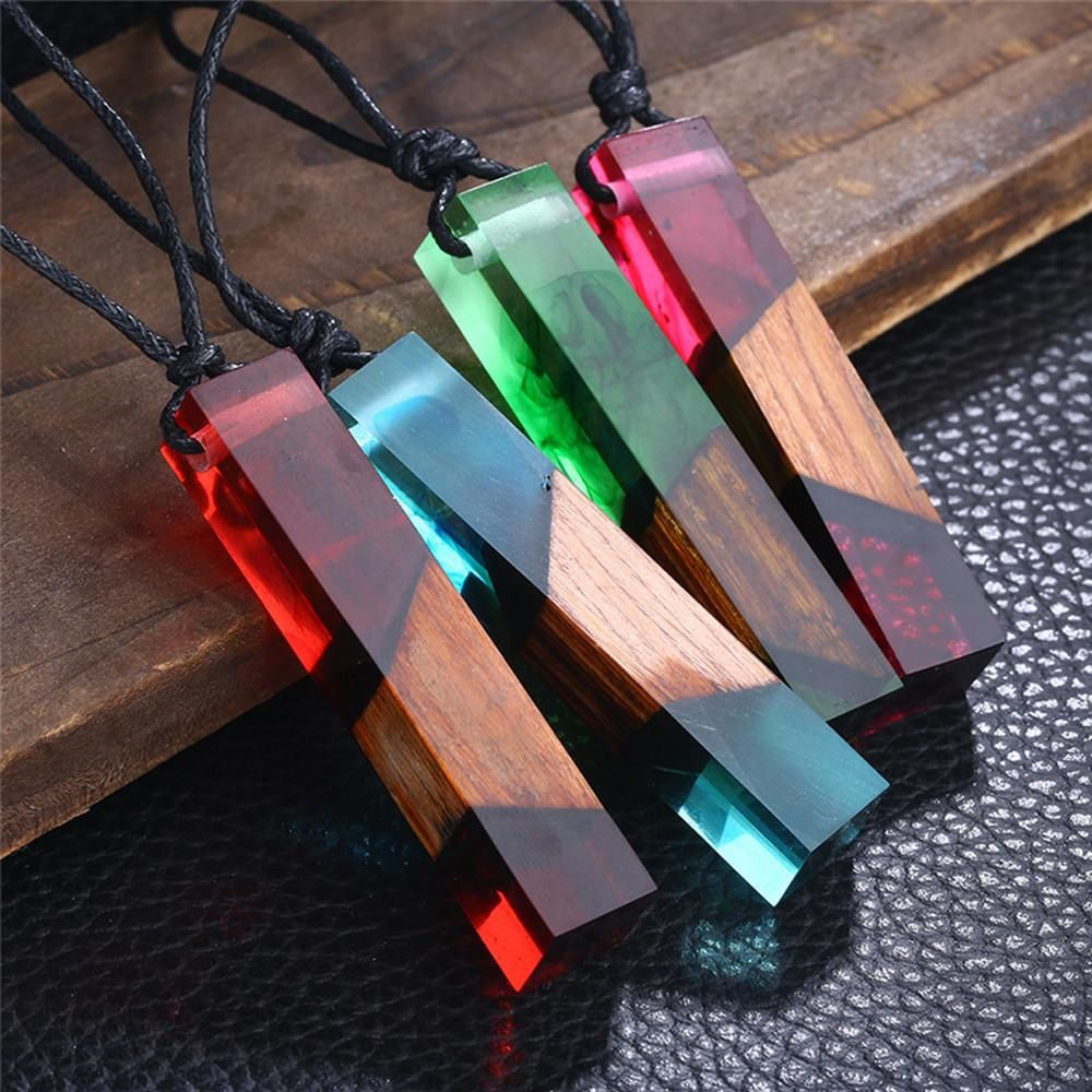 resin pendant resin necklace wooden necklace wood pendant 087 Resin jewelry wood jewelry