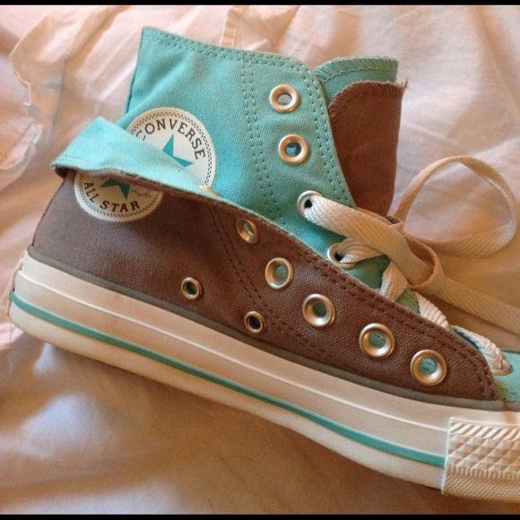 a3dbf7f372ae Converse Shoes - Converse 2 layer Tiffany blue and grey hi tops (mine have  grey laces and blue laces to match) 140441F