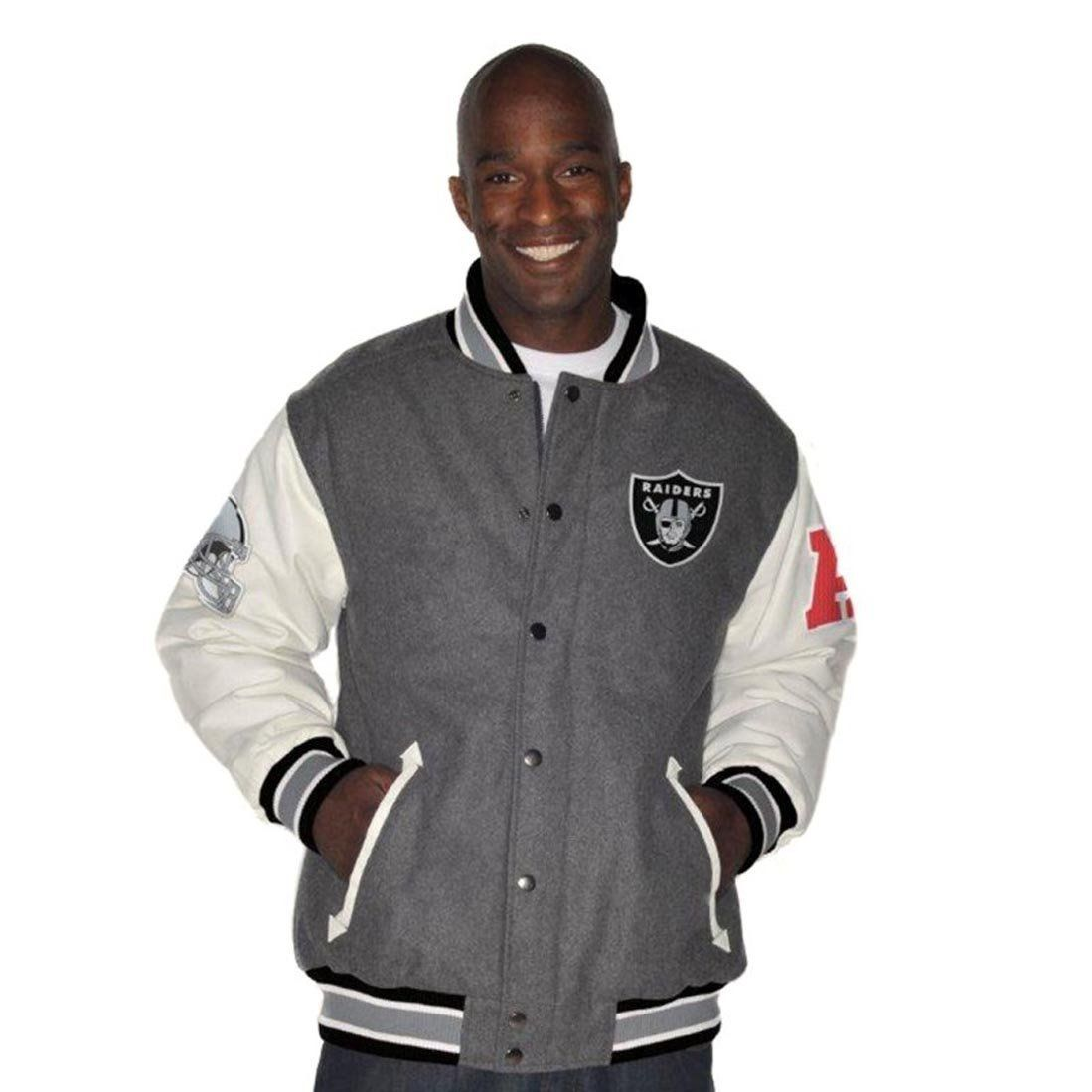 quite nice cd9cb 5070c Amazon.com : Oakland Raiders Wool Leather Jacket Raiders ...