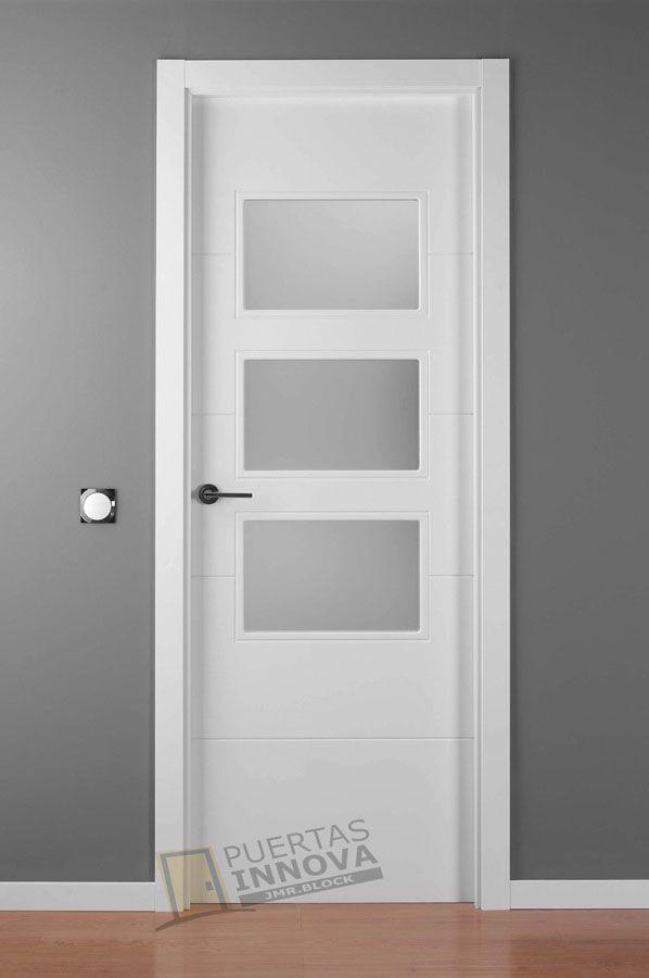 Puerta Lacada Blanca LAC-9004 v3 cristales consultar precio | Puertas Innova S.L.U