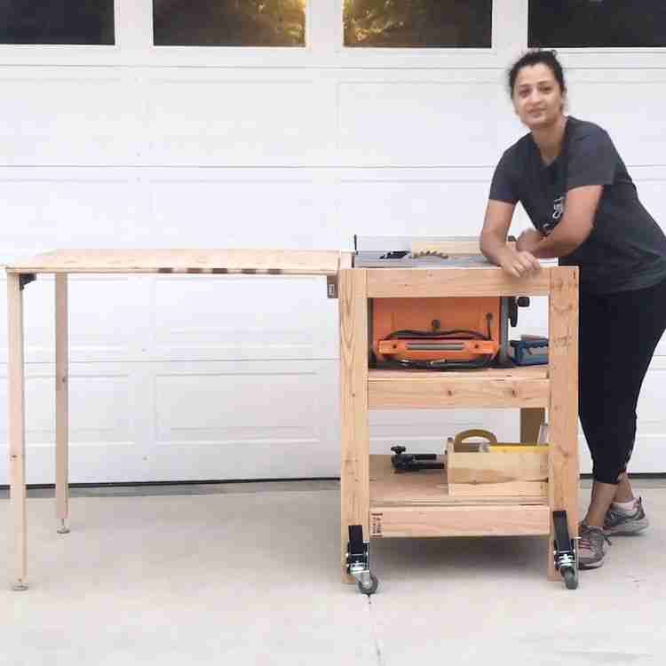 Love this! Learn how to make a DIY table saw stand with a folding outfeed table. This simple portable table saw stand is perfect for a small shop! Get the woodworking plans and detailed video tutorial. #anikasdiylife