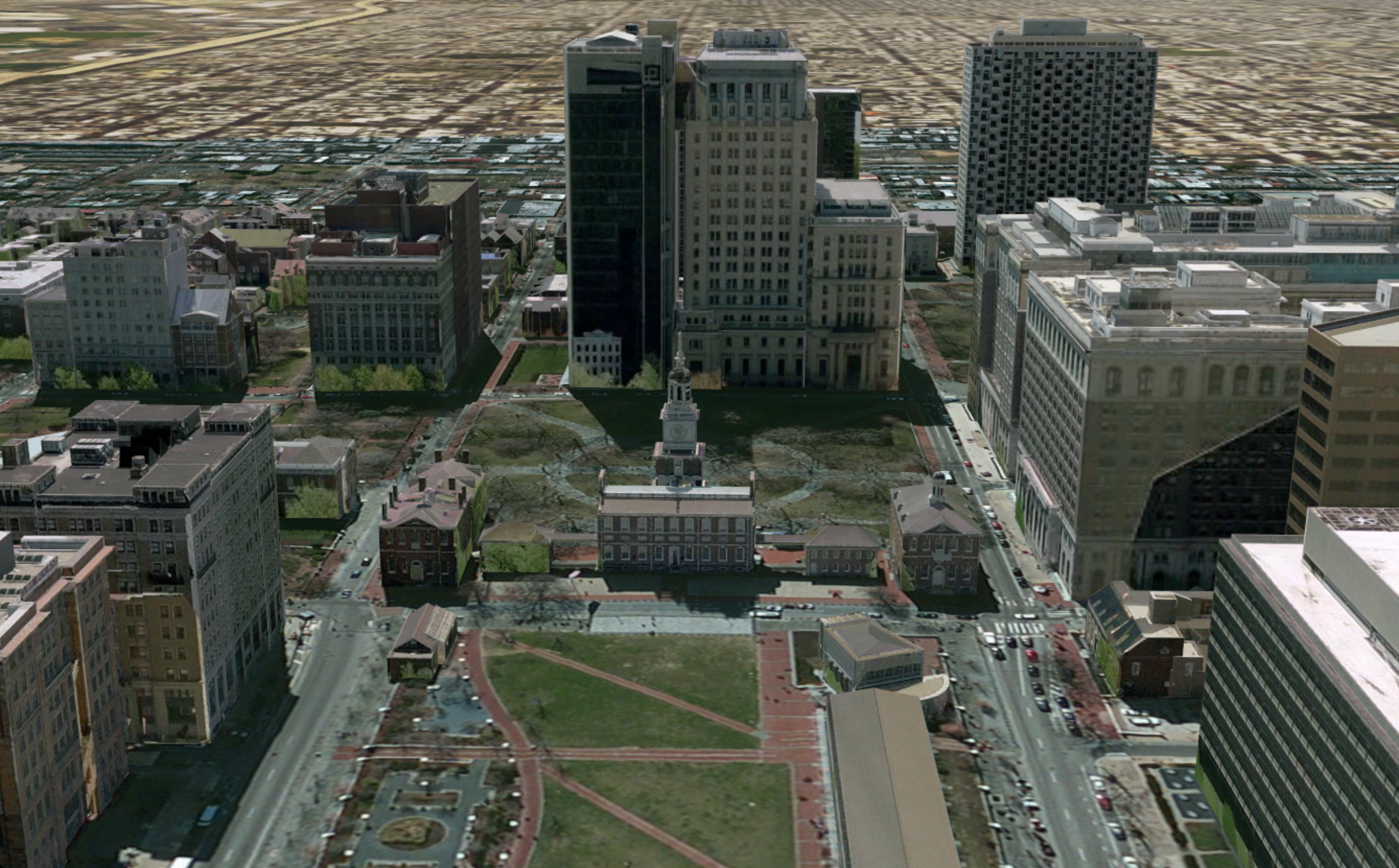 3D scene map of Philadelphia Source Pictometry