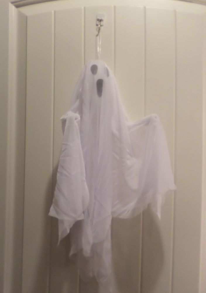 2 HANGING WHITE GHOSTS HALLOWEEN PROPS DECOR BLACK SPOOKY FACES - halloween props decor