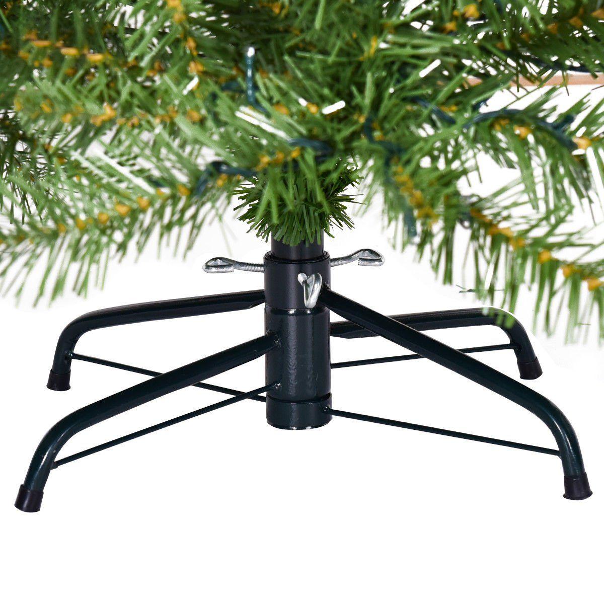 Goplus PreLit Christmas Tree Artificial PVC Spruce Hinged