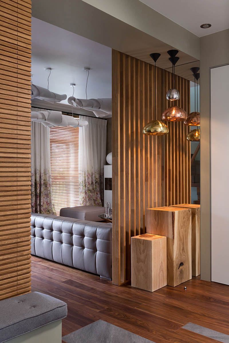 Wood Wall W Built In Seating And Wood Slat Room Dividers