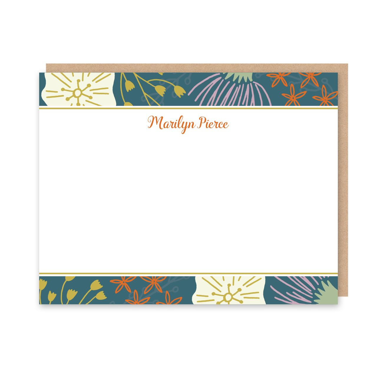 wildflowers personalized flat note card stationery l peony hill press - Personalized Flat Note Cards