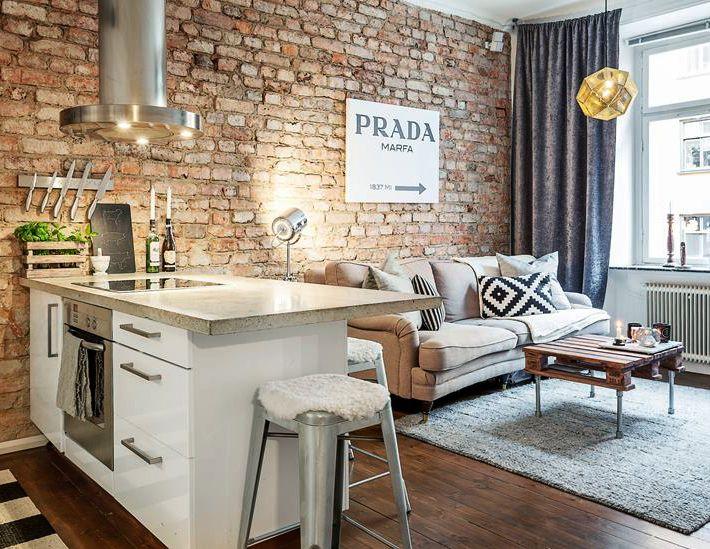 Small Cozy Apartment Pinma_De On Wnętrze.pinterest  Brick Feature Wall .