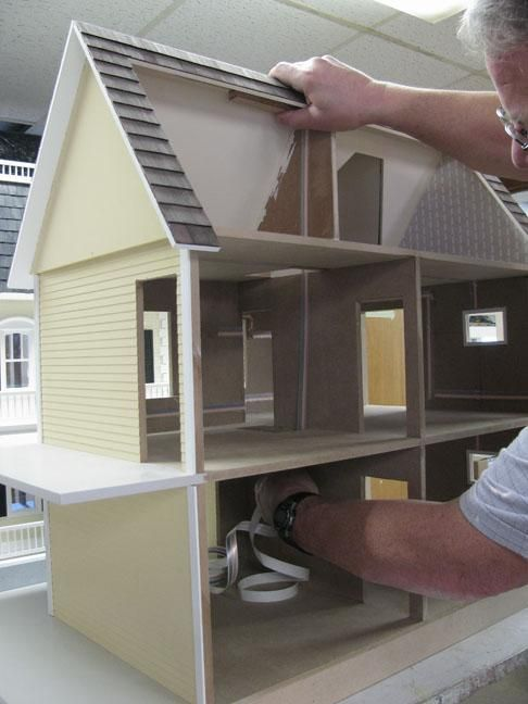 lighting for dollhouses. tapewire from the attic ceiling to basefloor in one run lighting for dollhouses