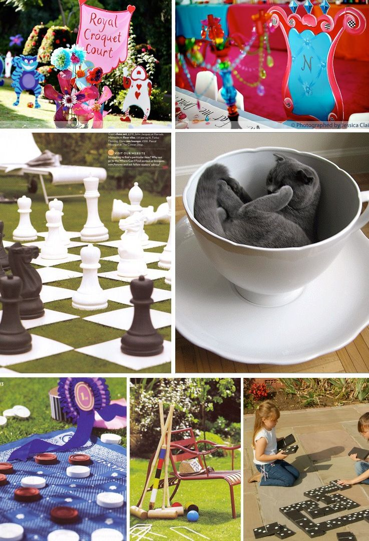 alice in wonderland first birthday party :: giant chess and draughts ...