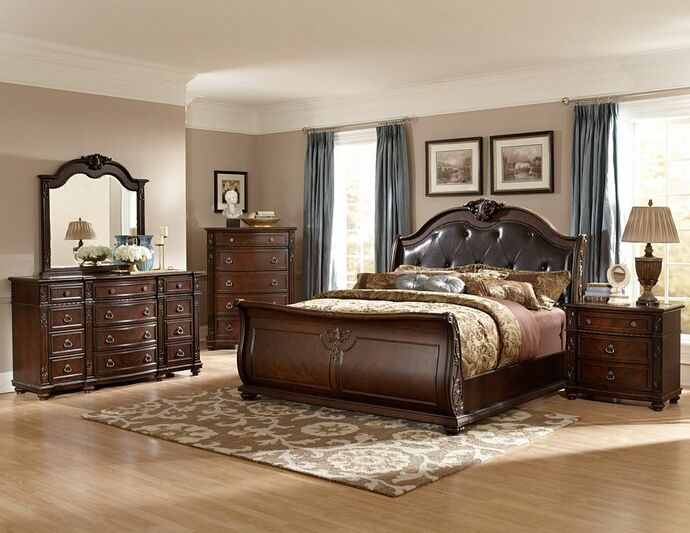 Homelegance 2169sl 5pc 5 Pc Hillcrest Manor Rich Cherry Finish Wood And Dark Brown Padded Headboard Sleigh Bedroom Set King Bedroom Sets Master Bedroom Set Sleigh Bedroom Set