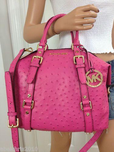 Michael Kors Pink Medium Bedford Ostrich Leather Satchel Shoulder Bag Purse